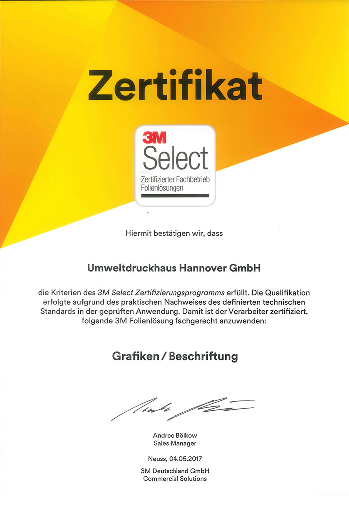 3M-Zertifikat UmweltDruckhaus Hannover