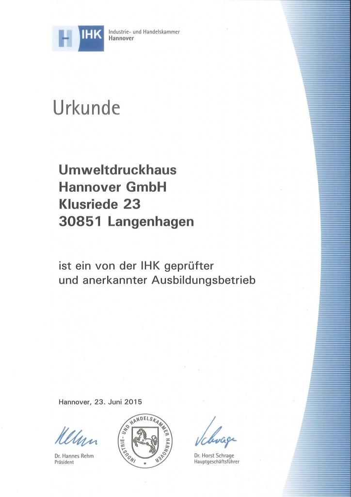IHK-Urkunde-Ausbildungsbetrieb UmweltDruckhaus Hannover
