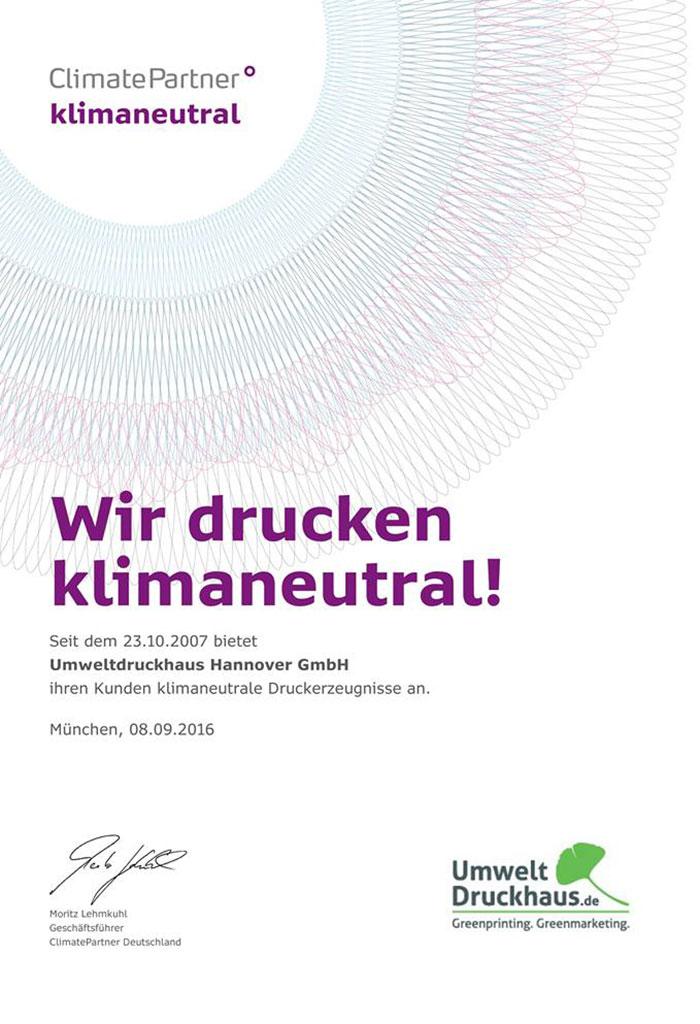 Klimaneutral Urkunde UmweltDruckhaus Hannover