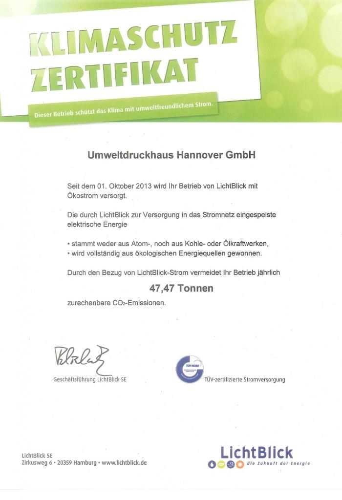 Klimaschutzzertifikat UmweltDruckhaus Hannover