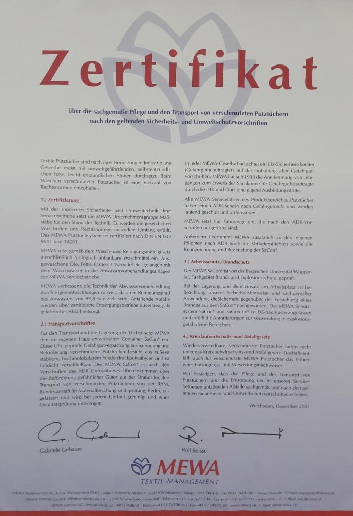 MEWA-Textilmanagement-Zertifikat UmweltDruckhaus Hannover