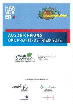 Urkunde Ökoprofit-Betrieb-2014 UmweltDruckhaus Hannover
