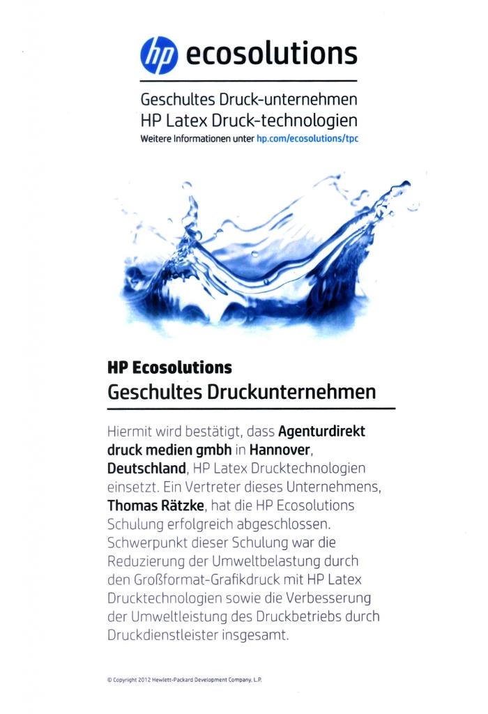 Urkunde-HP-Eco-Solutions-Schulung UmweltDruckhaus Hannover
