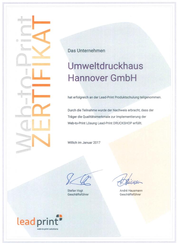 Web-to-Print-Zertifikat-2017 UmweltDruckhaus Hannover