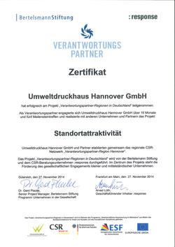 Zertifikat-Verantwortungspartner-Bertelsmann-Stiftung UmweltDruckhaus Hannover