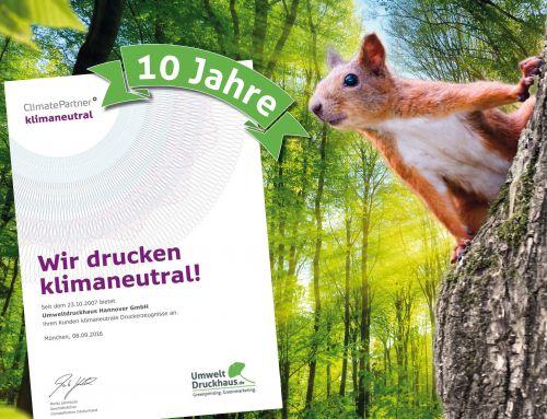 """10 Jahre """"klimaneutrales Drucken"""" im Umweltdruckhaus Hannover."""