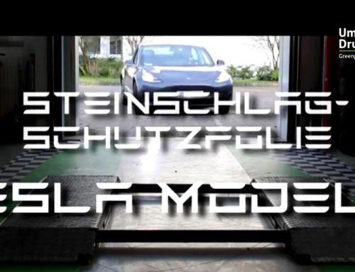 Car Wrapping im UmweltDruckhaus Hannover: Tesla Model 3 mit Steinschlagschutzfolie