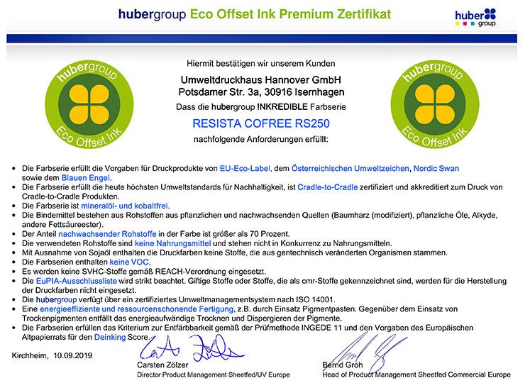 hubergroup Eco Offset Ink Premium Zertifikat